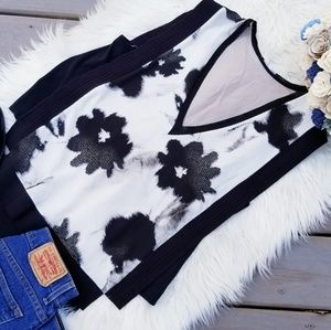 Zara black and white collection sleeveless blouse
